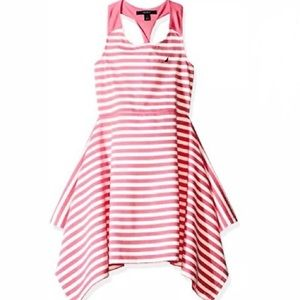 Nautica Pink Stripe Knit Dress Twist back 7